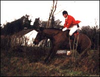 Mounted hunter over ditch